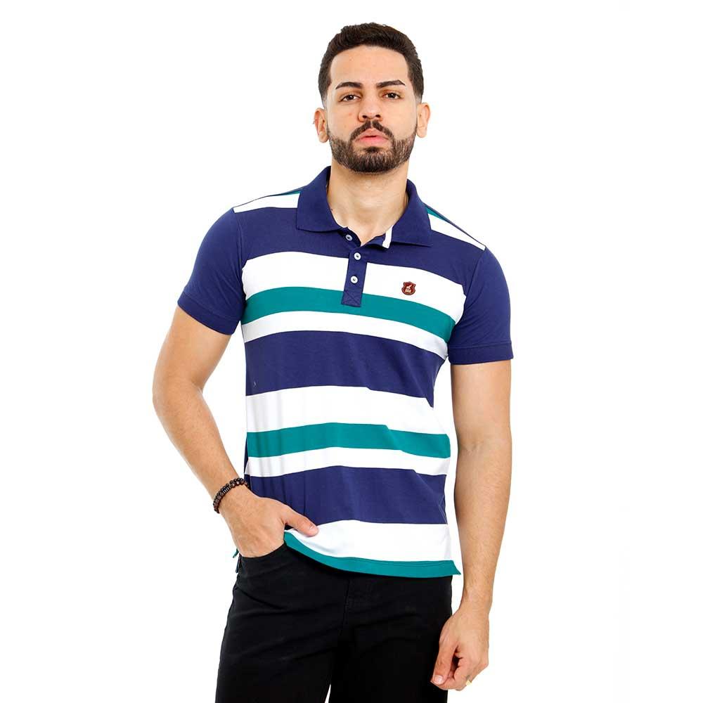 Camisa Polo Masculina Listras Azuis e Verdes Bamborra