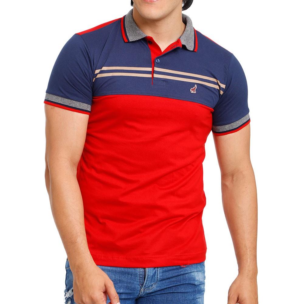 Camisa Polo Masculina Repartida Azul e Vermelho Bamborra