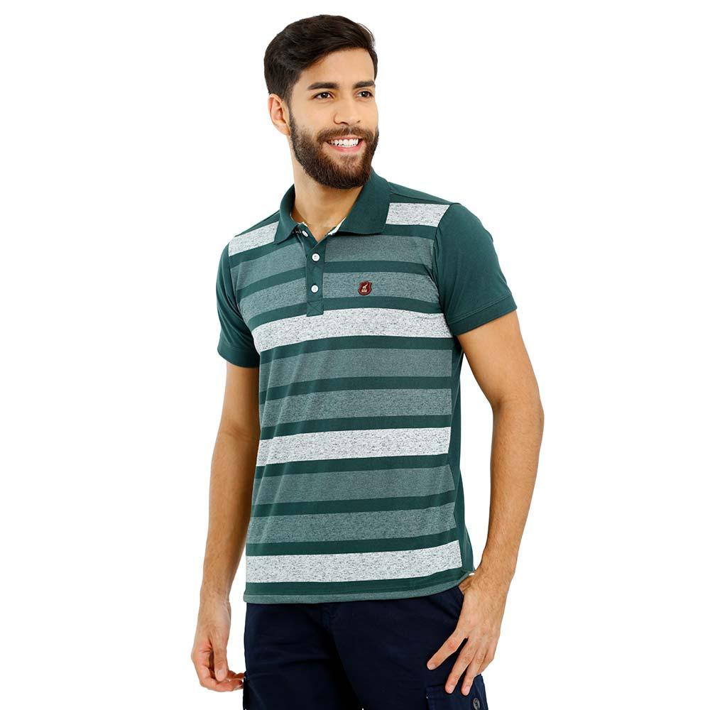 Camisa Polo Masculina Verde Listrada Bamborra