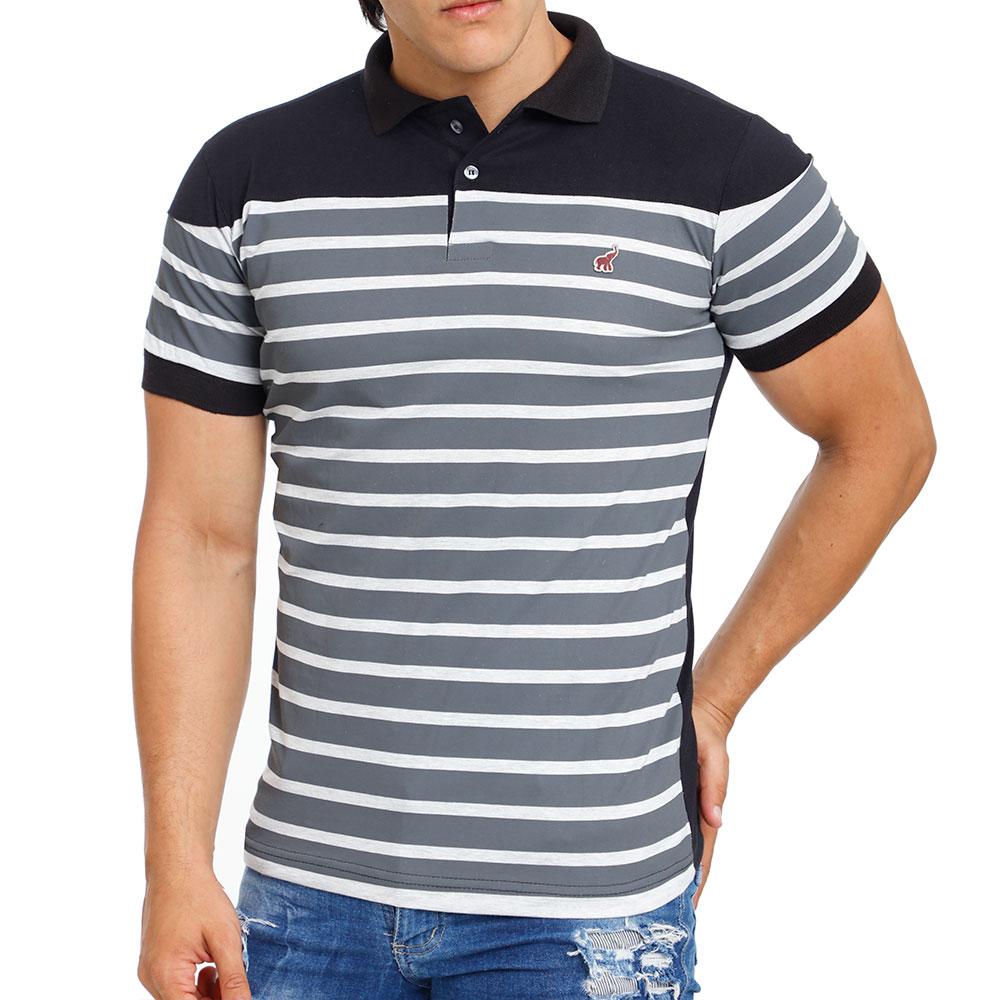 Camisa Polo Preta Listrada Masculina Bamborra