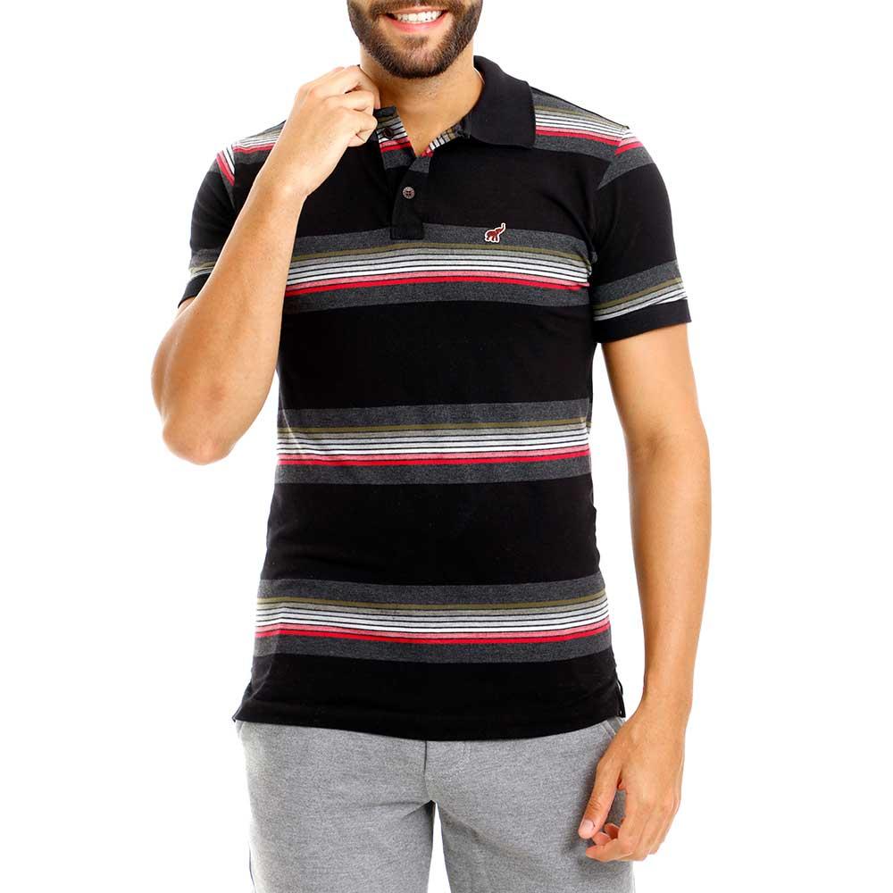 Camisa Polo Preta Listrada Masculina Slim Fit Bamborra