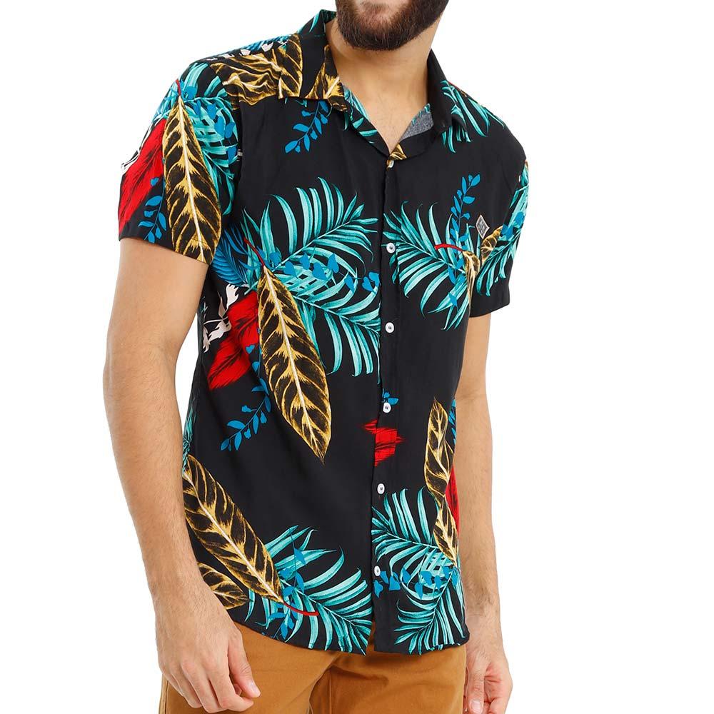 Camisa Preta Com Estampa Floral Masculina em Viscose