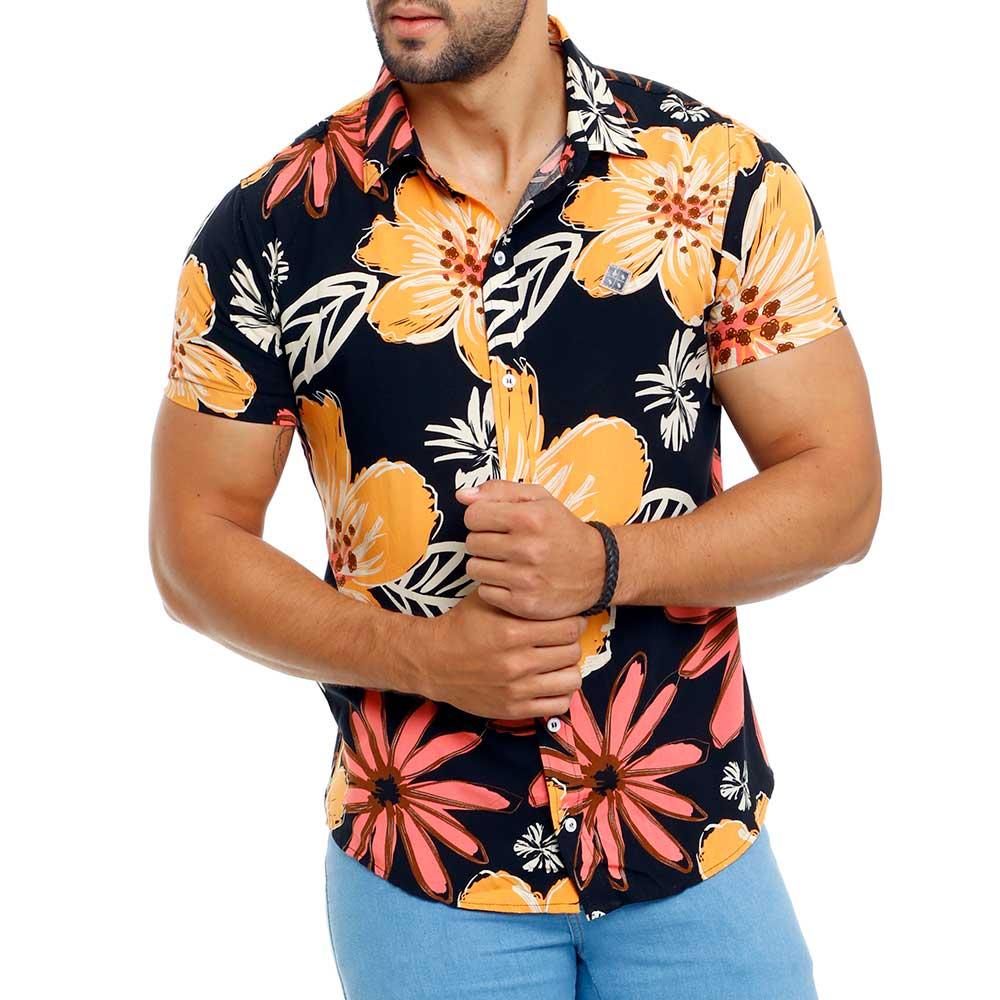 Camisa Preta Masculina Viscose Floral Bamborra