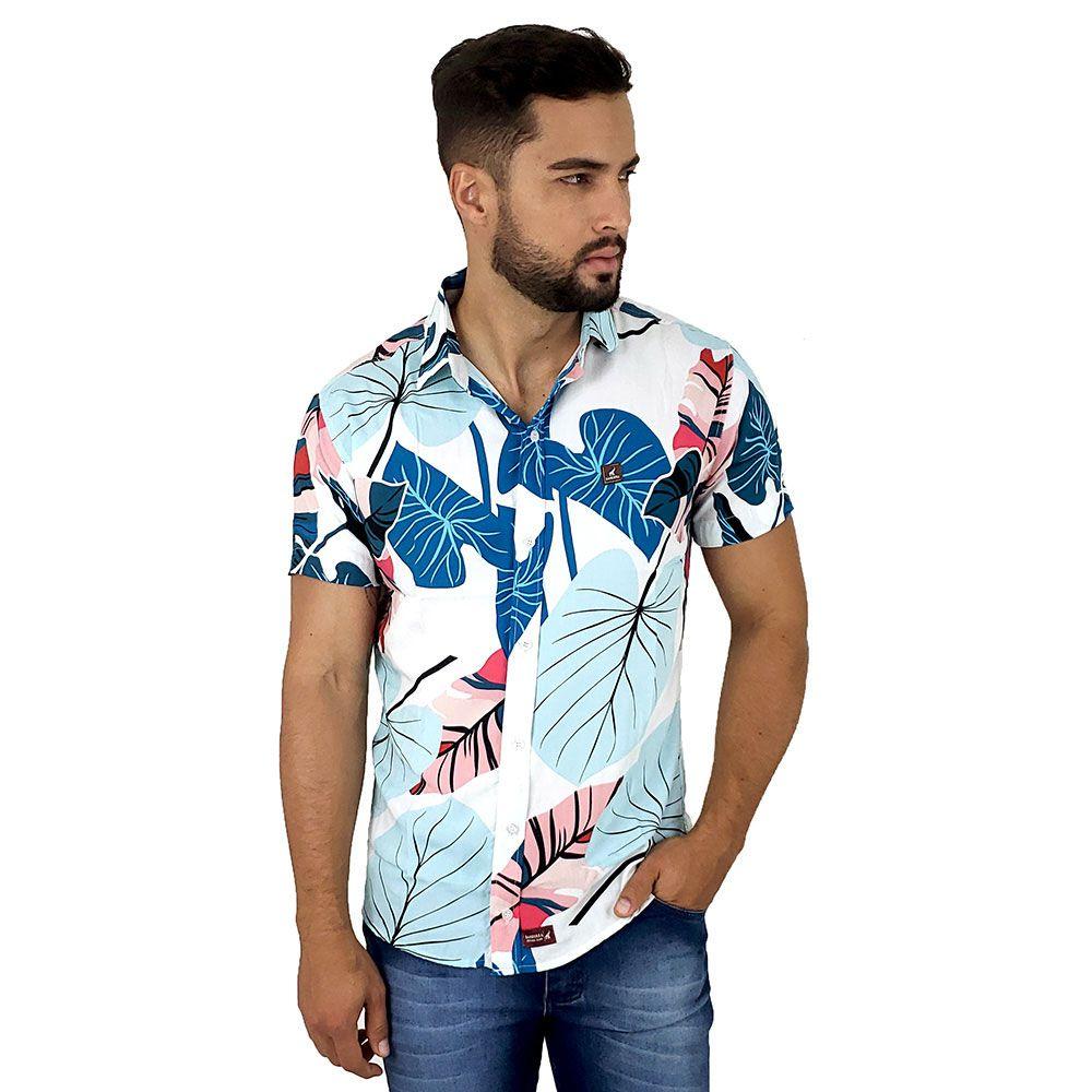 Camisa Social Florida Branca Masculina Viscose Bamborra