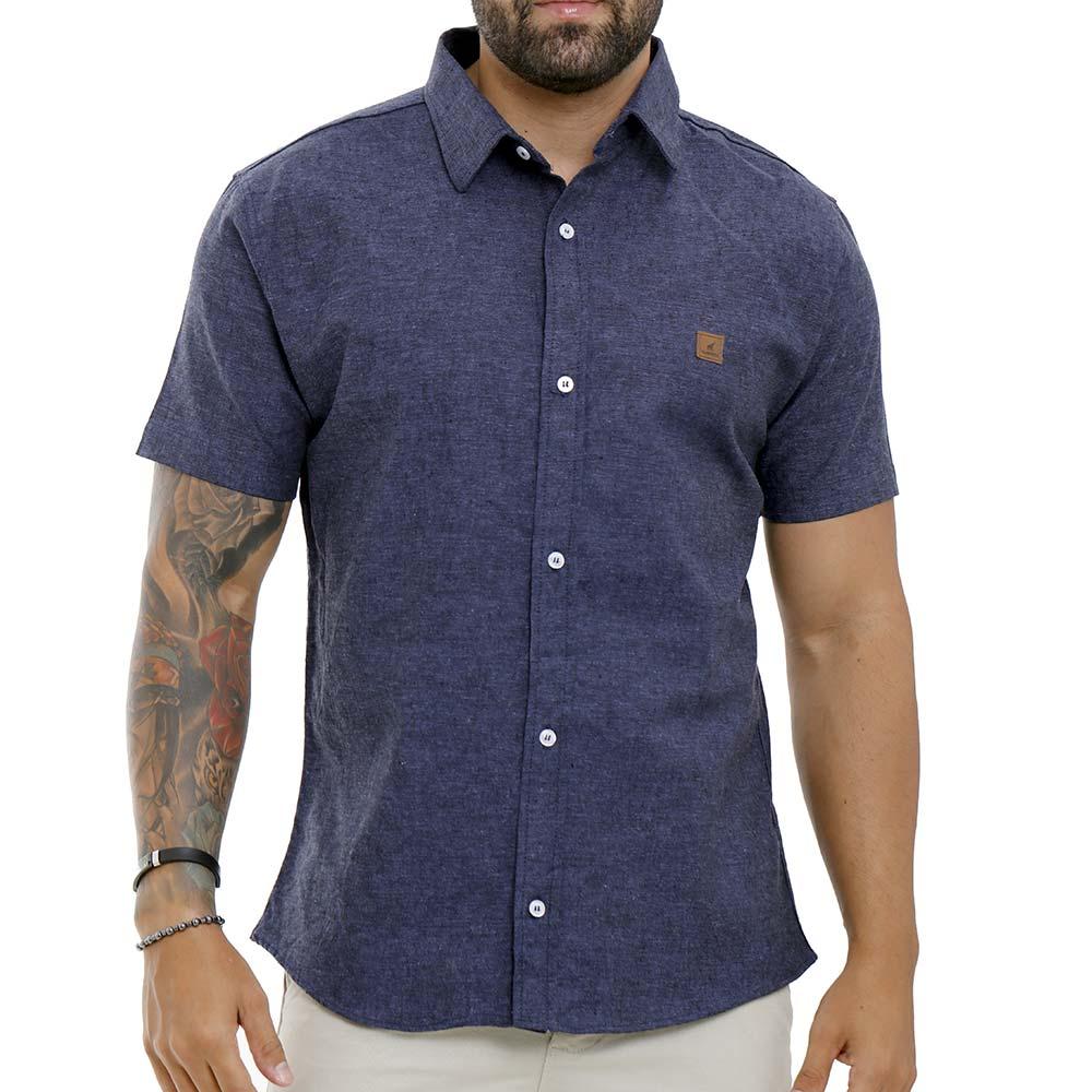 Camisa Social Masculina De Linho Azul Escuro Bamborra
