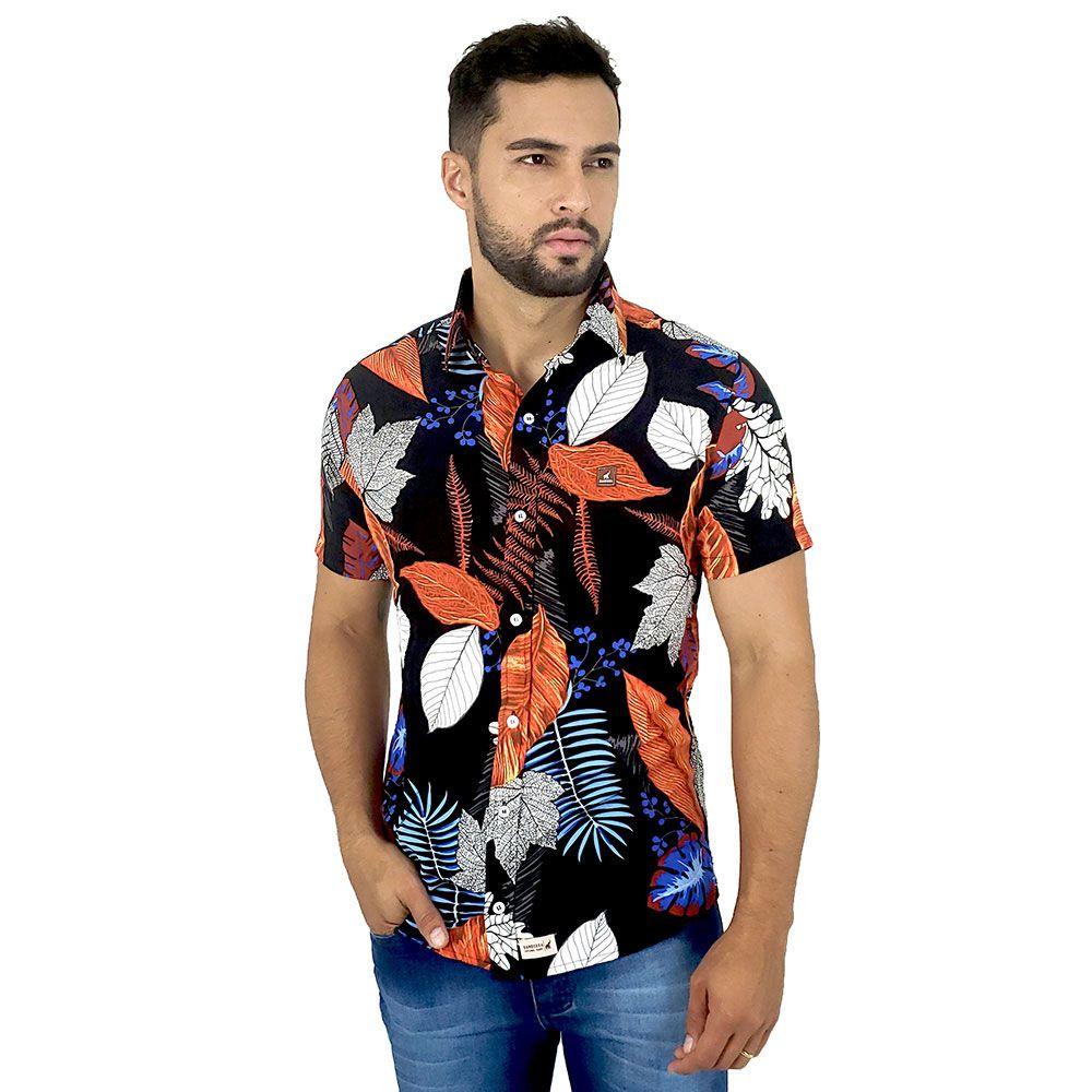 Camisa Social Preta Masculina Estampada Florida Bamborra