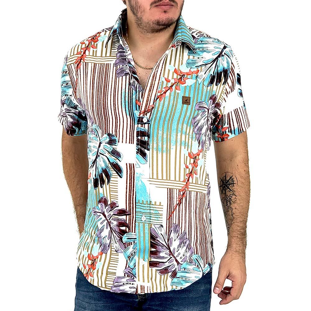 Camisa Viscose Masculina Estampada Com Listras e Flores