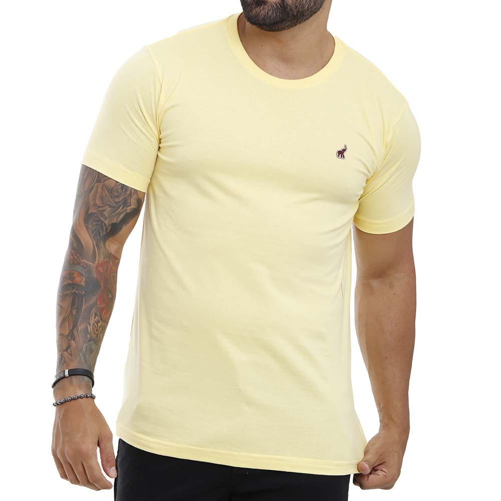 Camiseta Amarela Masculina Lisa Básica de Algodão