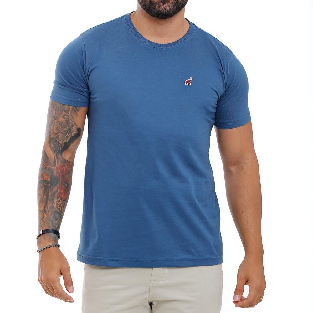 Camiseta Azul Escuro Masculina Básica Algodão Bamborra