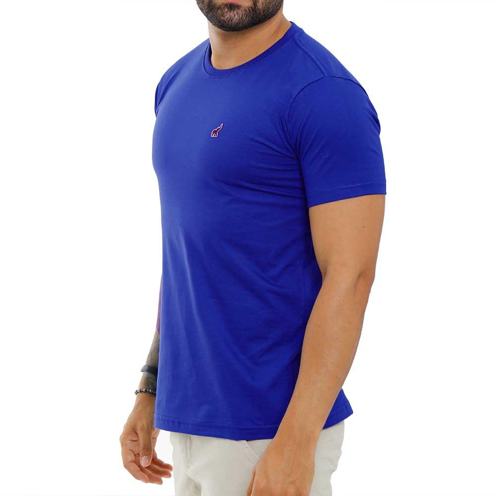 Camiseta Azul Royal Masculina Básica Algodão Bamborra