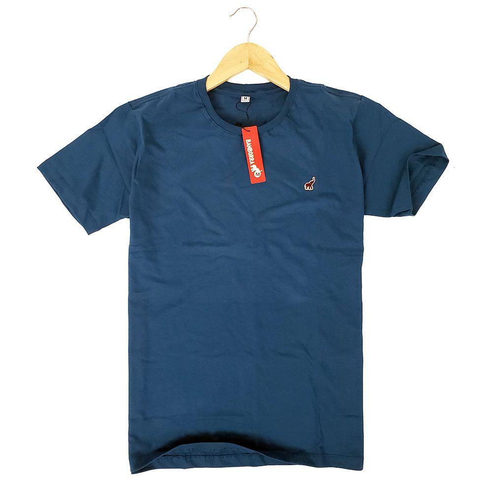 Camiseta Básica Azul Escuro Masculina de Algodão