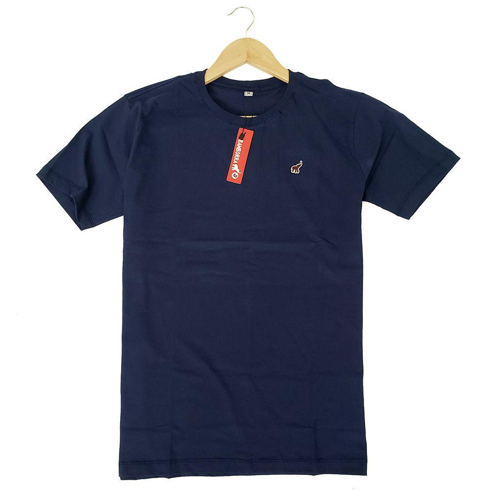 Camiseta Básica Masculina Algodão Azul Marinho Bamborra