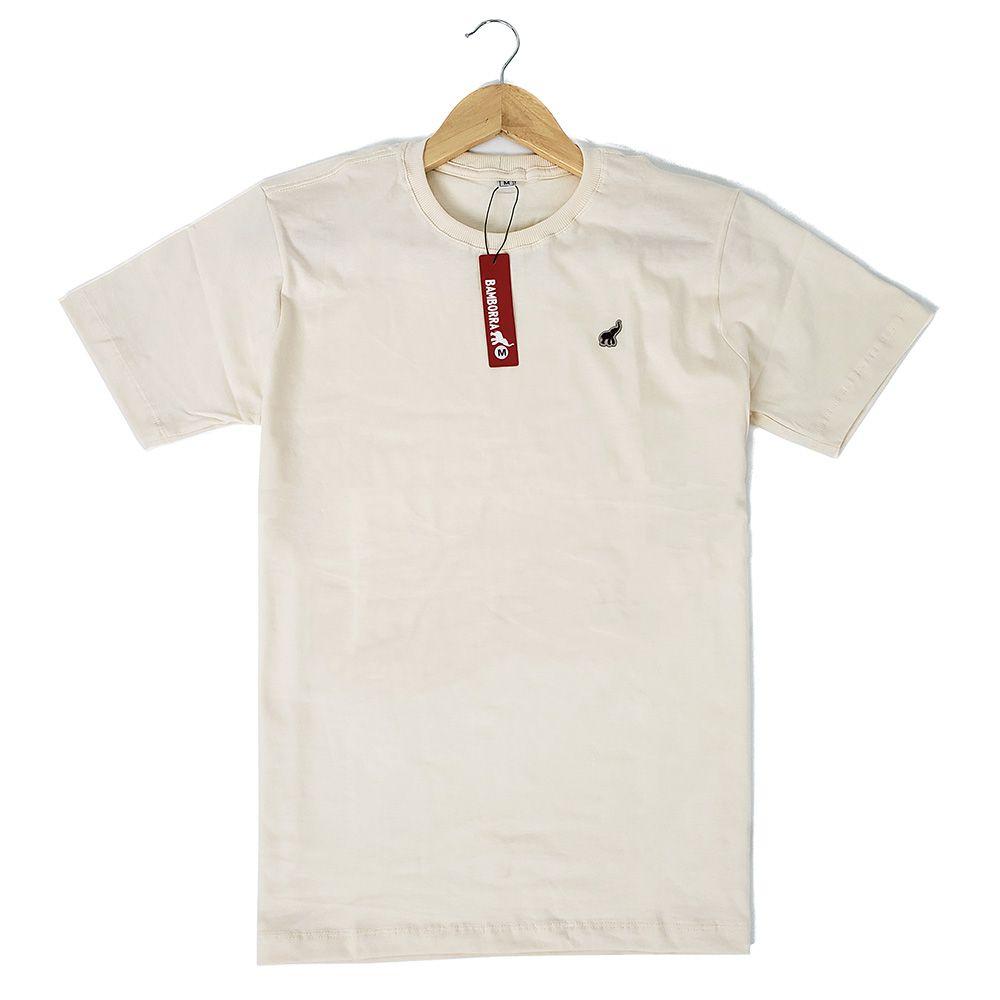 Camiseta Básica Masculina Algodão Bege Bamborra