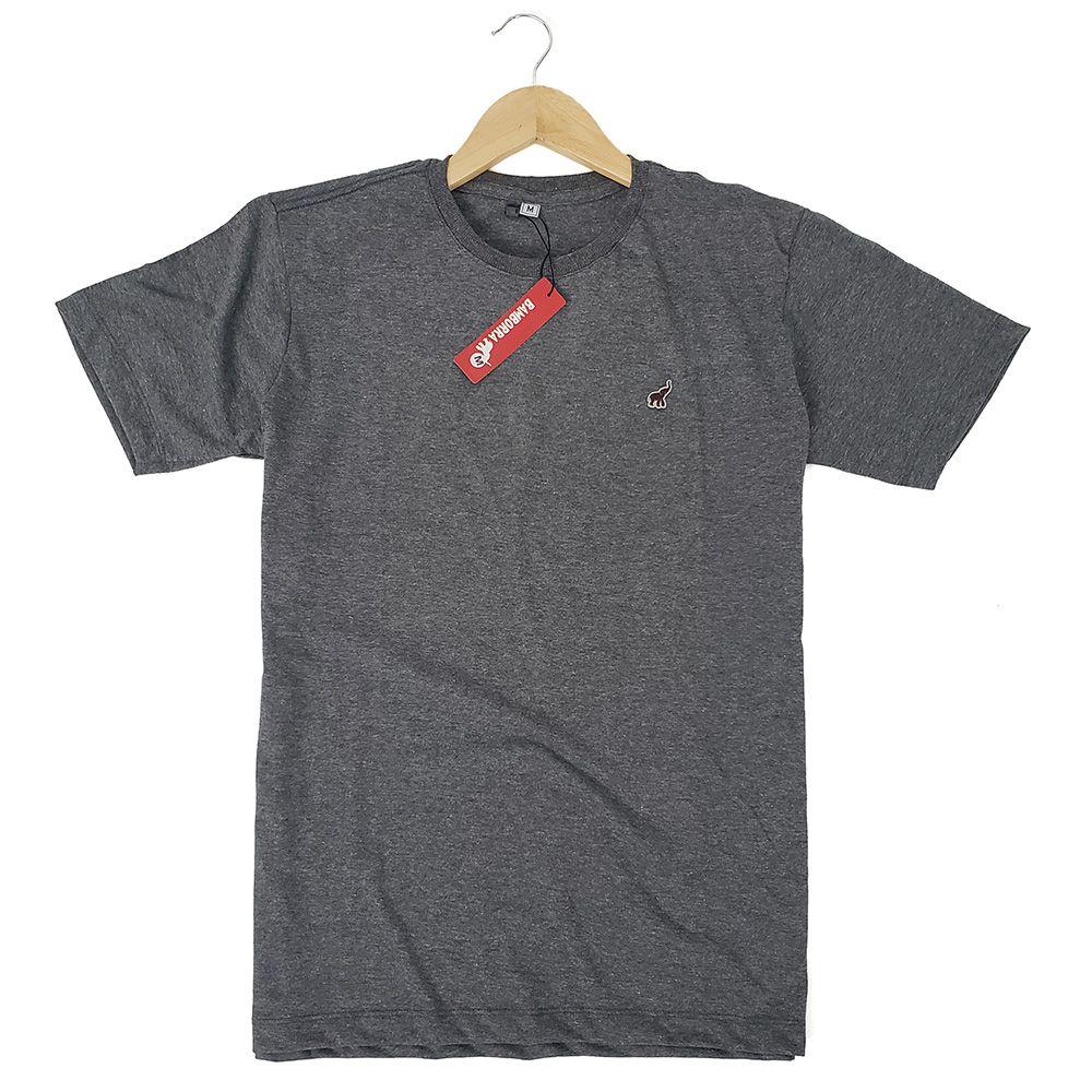 Camiseta Básica Masculina Cinza Escuro Mescla Algodão