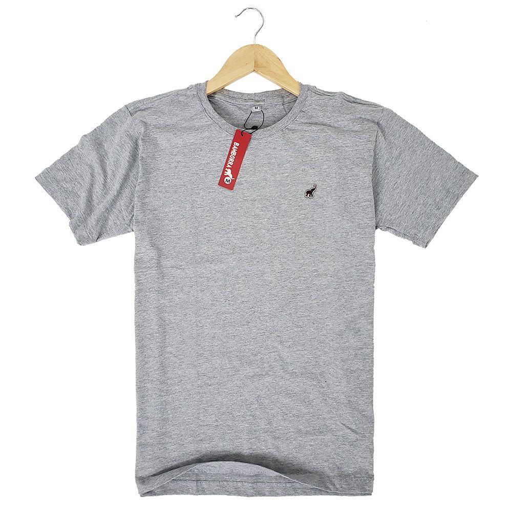 Camiseta Básica Masculina de Algodão Cinza Claro