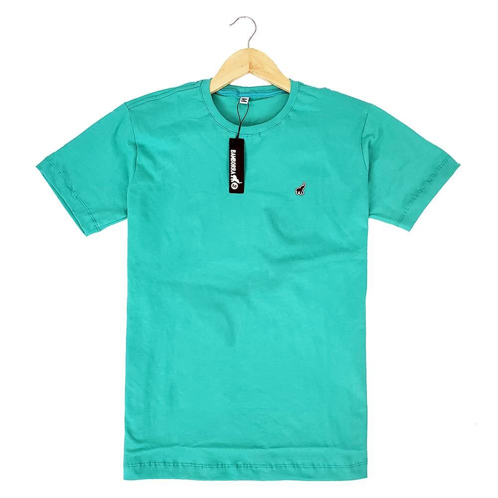 Camiseta Básica Masculina Lisa Verde Claro de Algodão