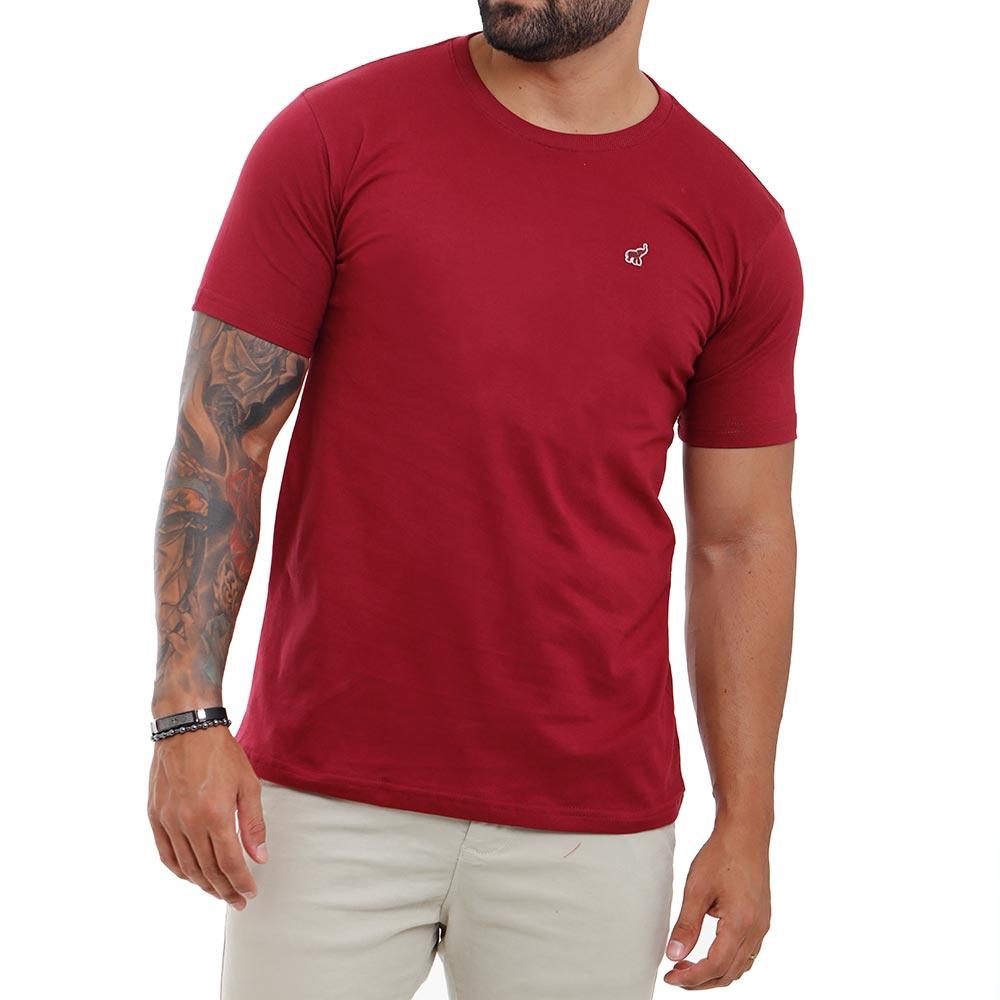 Camiseta Bordô Masculina Básica Algodão Lisa Bamborra