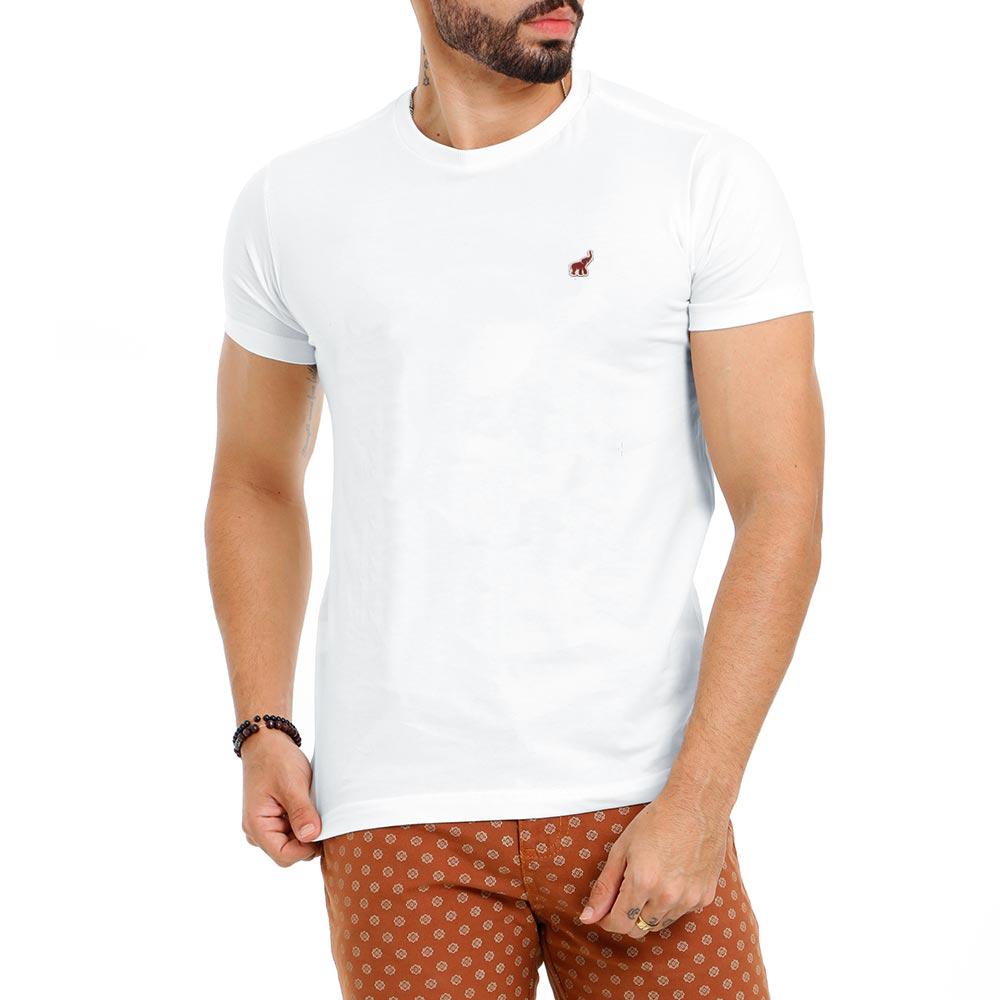 Camiseta Branca Masculina Básica Lisa Algodão Bamborra