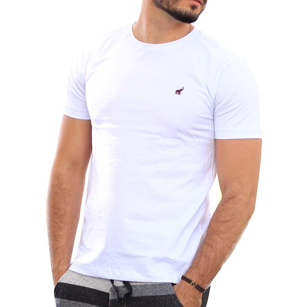 Camiseta Branca Masculina Básica Lisa de Algodão