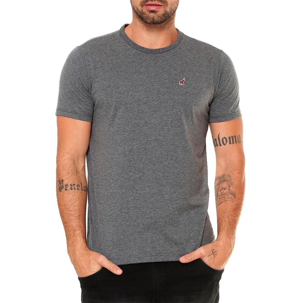Camiseta Cinza Escuro Masculina Básica Algodão Bamborra