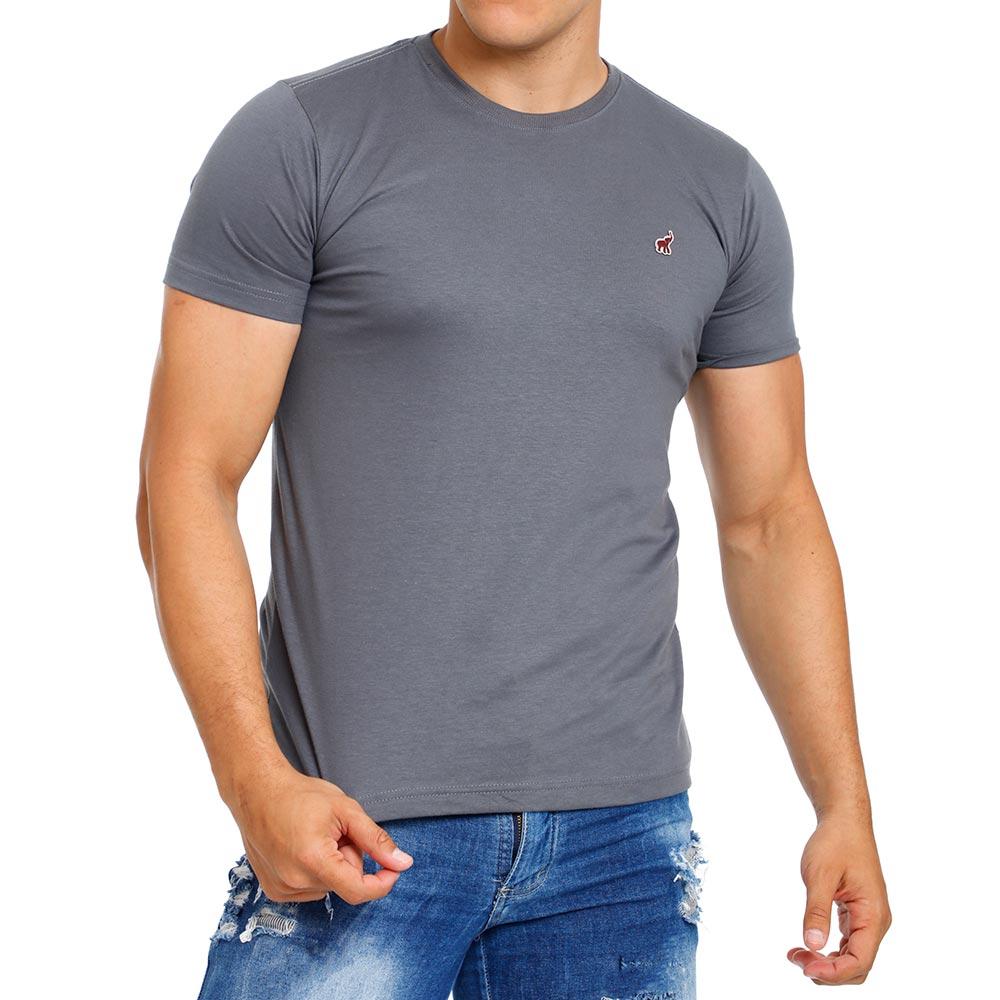 Camiseta Cinza Masculina Básica Lisa Bamborra
