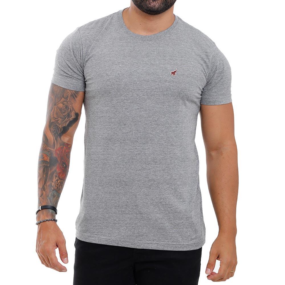 Camiseta Cinza Mescla Masculina Básica Algodão Bamborra