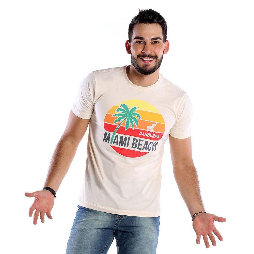 Camiseta Estampada Masculina Miami Beach Bamborra