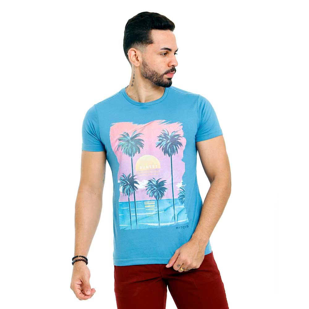 Camiseta Masculina Azul Estampada Sunset Mitchs