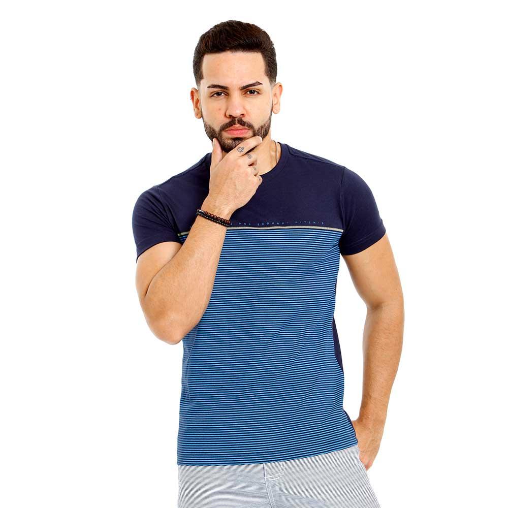 Camiseta Masculina Azul Listrada Mitchs