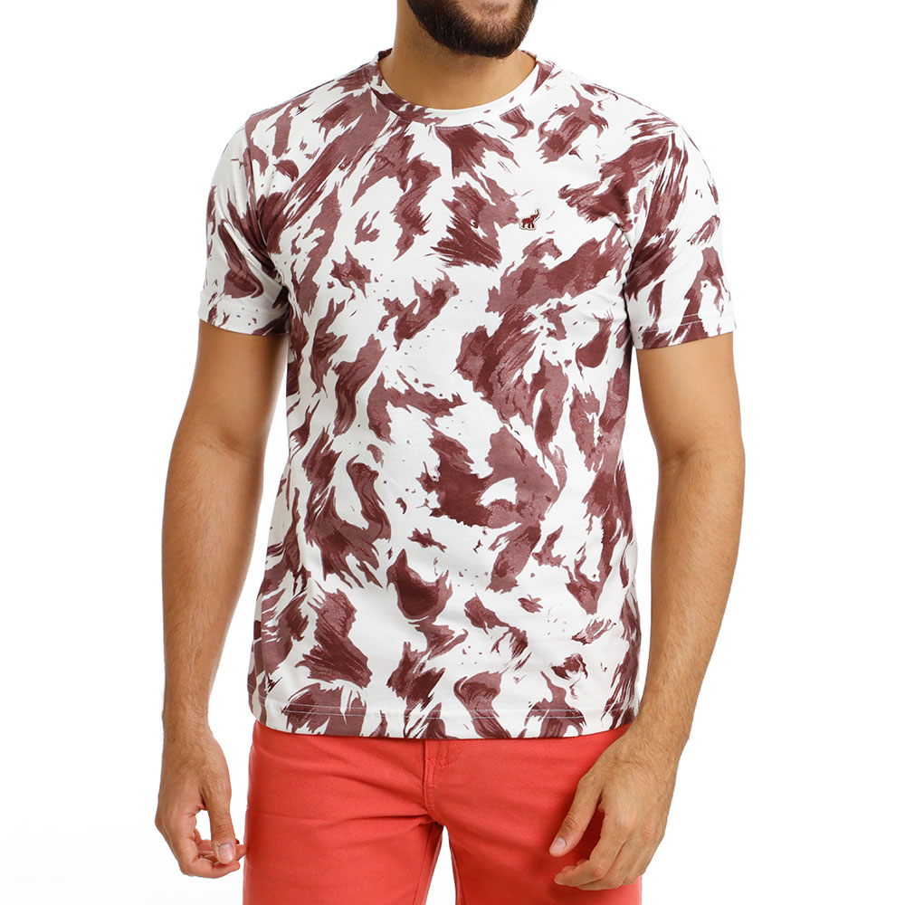 Camiseta Masculina Branca e Vinho Tie Day Bamborra