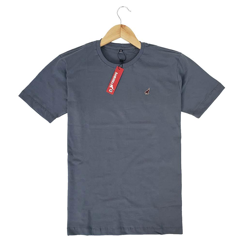 Camiseta Masculina Cinza Lisa Gola Careca Bamborra