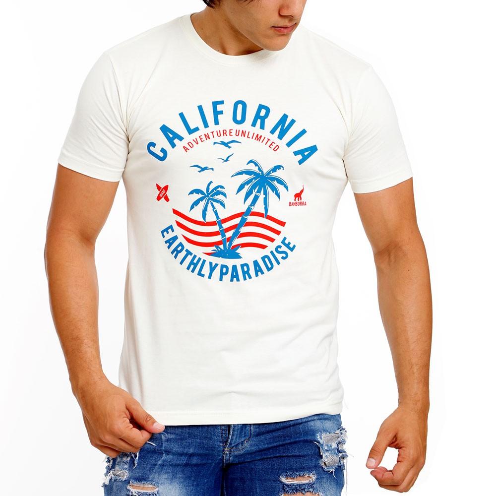 Camiseta Masculina Estampa California Bamborra