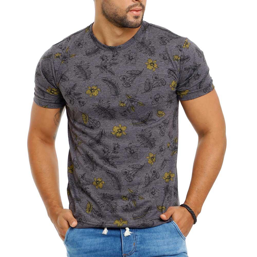 Camiseta Masculina Estampada Floral Cinza Bamborra