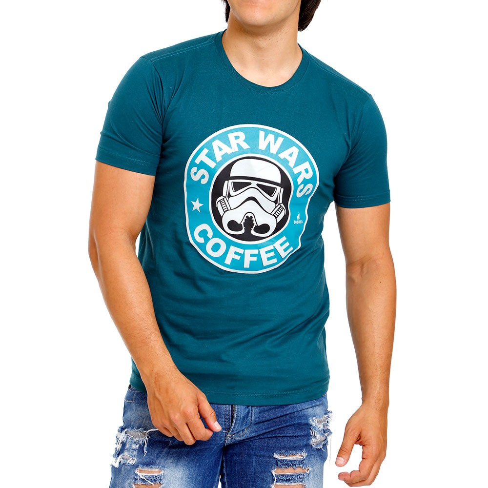 Camiseta Masculina Estampada Star Wars Coffee Bamborra