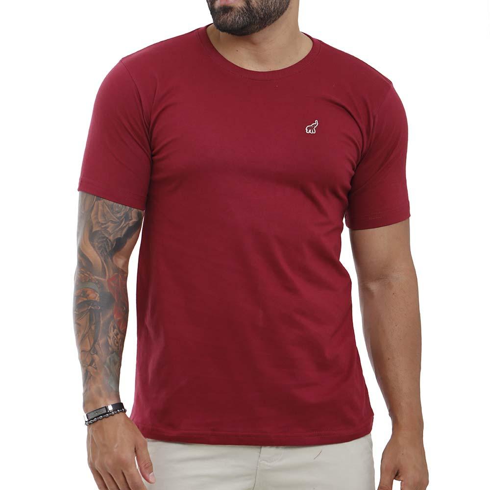 Camiseta Masculina Lisa Básica Bordô Com Gola Careca