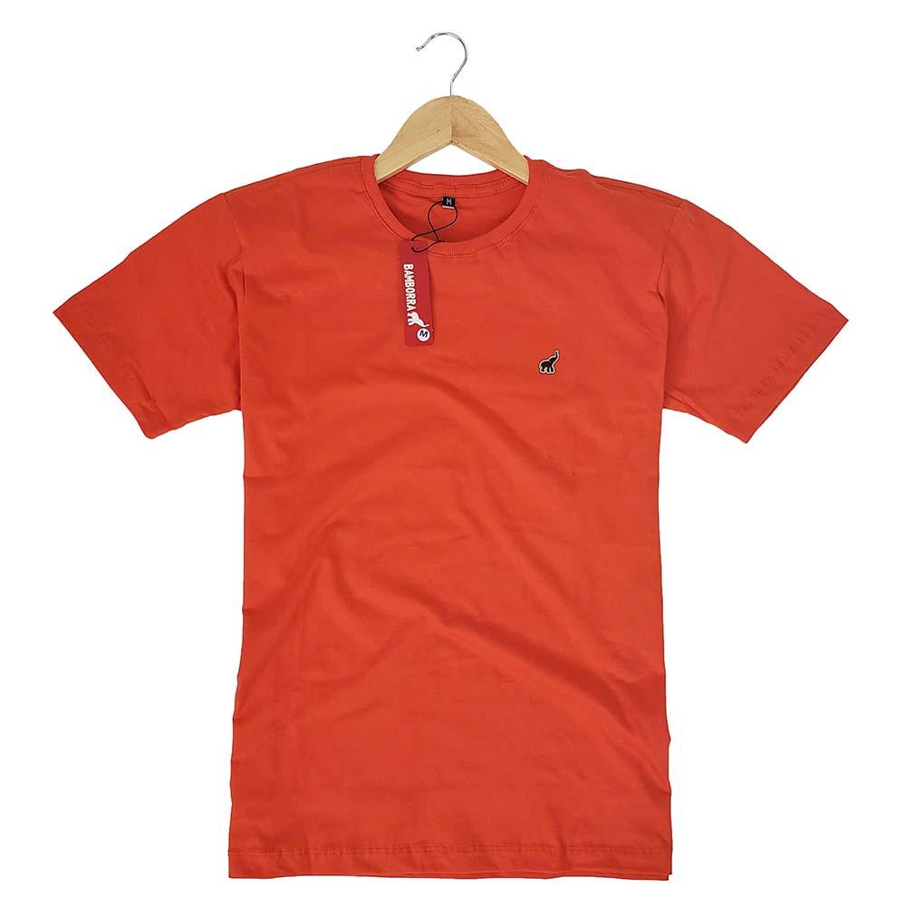 Camiseta Masculina Lisa Laranja Básica de Algodão