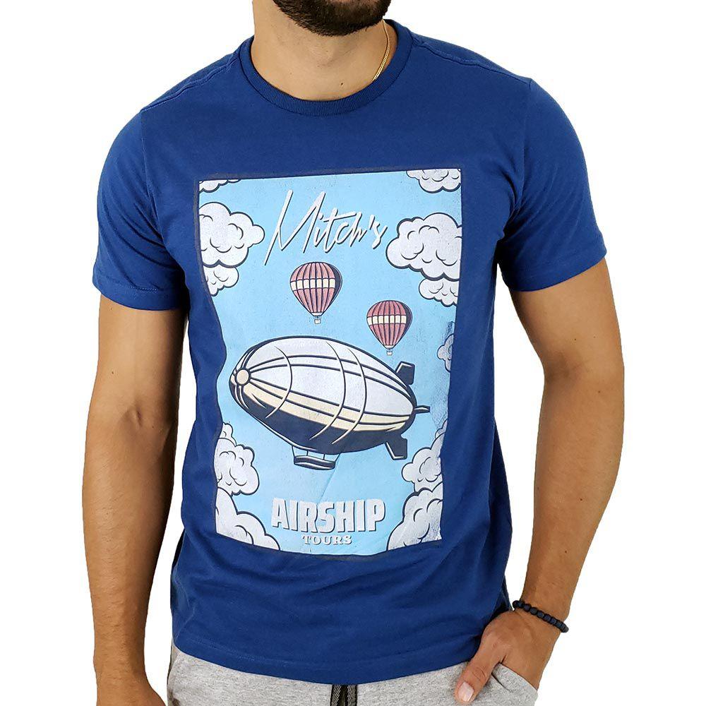 Camiseta Masculina Mitchs Estampa Airship Tour Azul