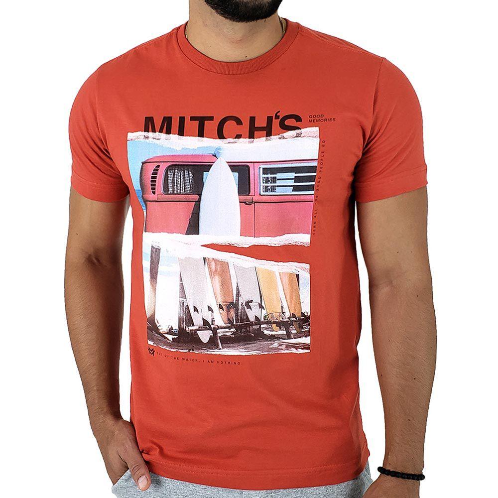 Camiseta Masculina Mitchs Laranja com Estampa Surf