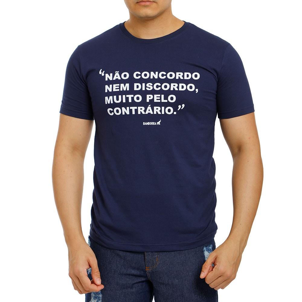 Camiseta Masculina Não Concordo Nem Discordo Bamborra