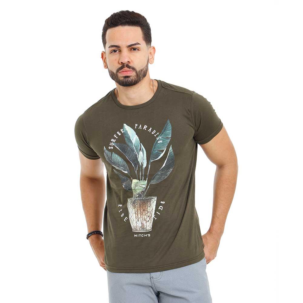 Camiseta Masculina Verde Estampada Paradise Mitchs