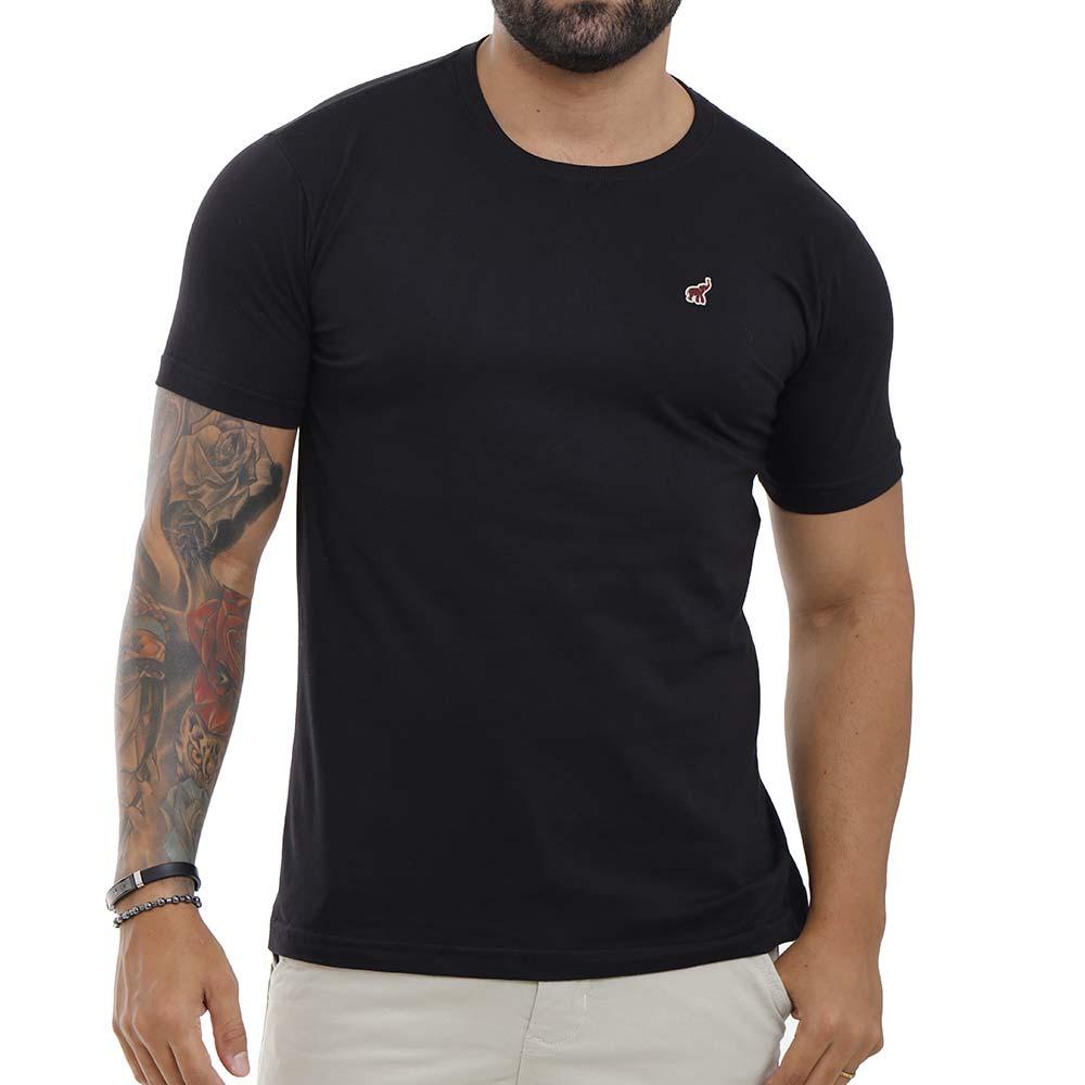 Camiseta Preta Básica Masculina Lisa de Algodão