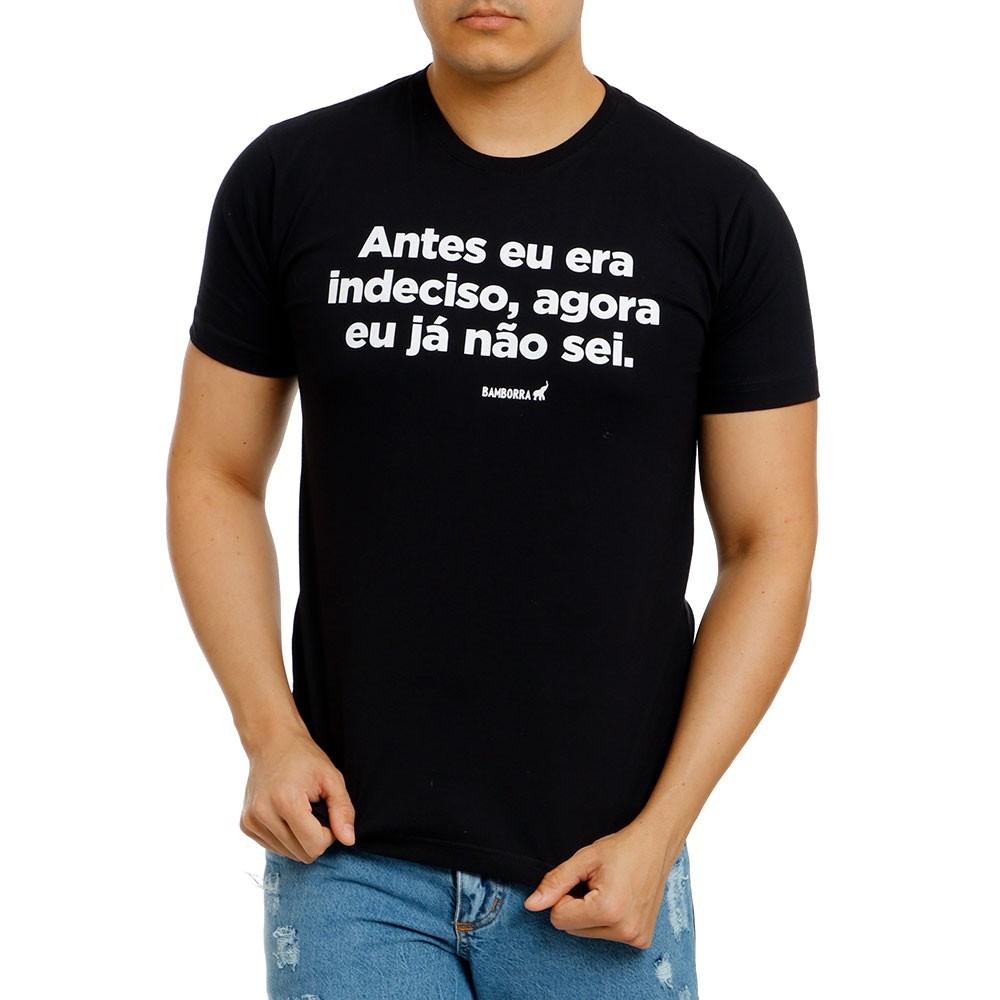 Camiseta Preta Masculina Estampada Indeciso Bamborra