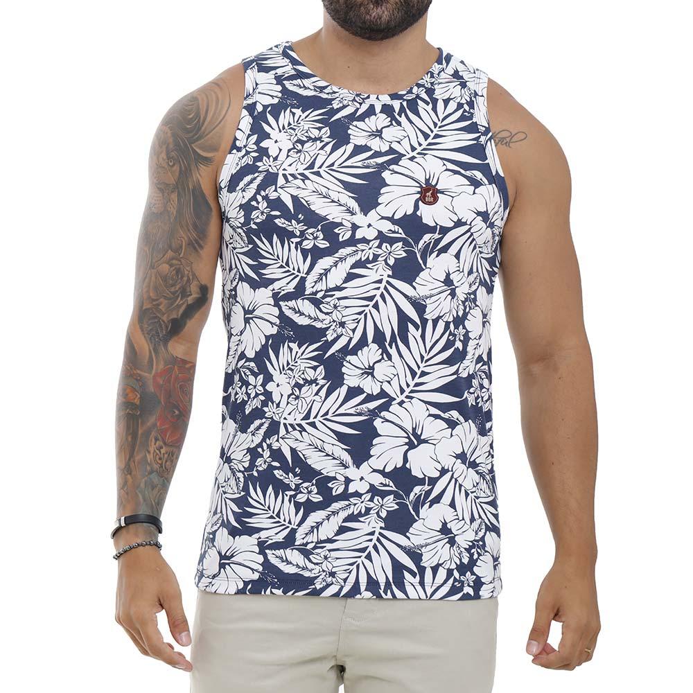 Camiseta Regata Masculina Azul Com Estampa Floral