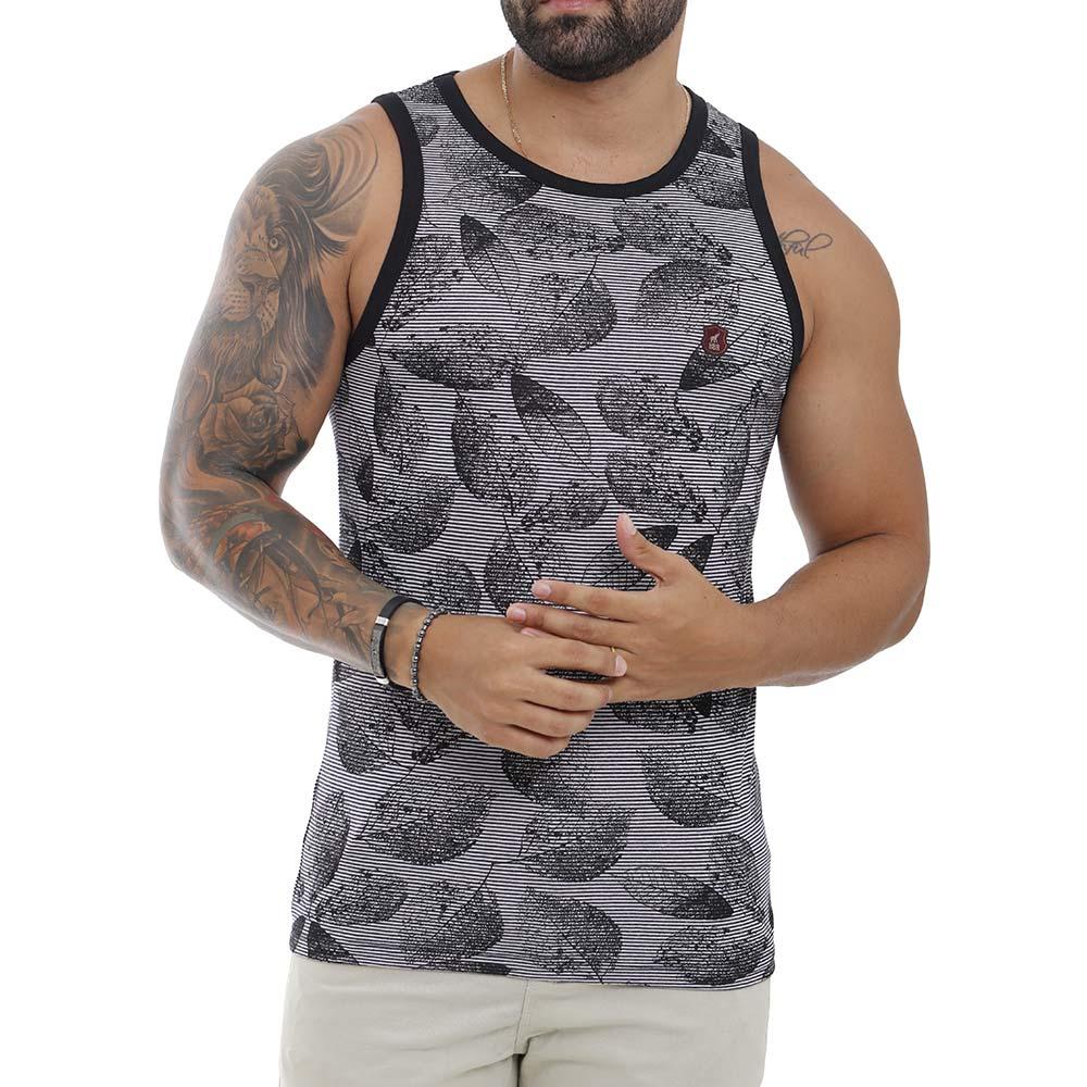 Camiseta Regata Masculina Preta Com Estampa Florida