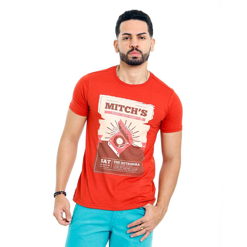 Camiseta Vermelha Masculina Estampada Music Retro Mitchs