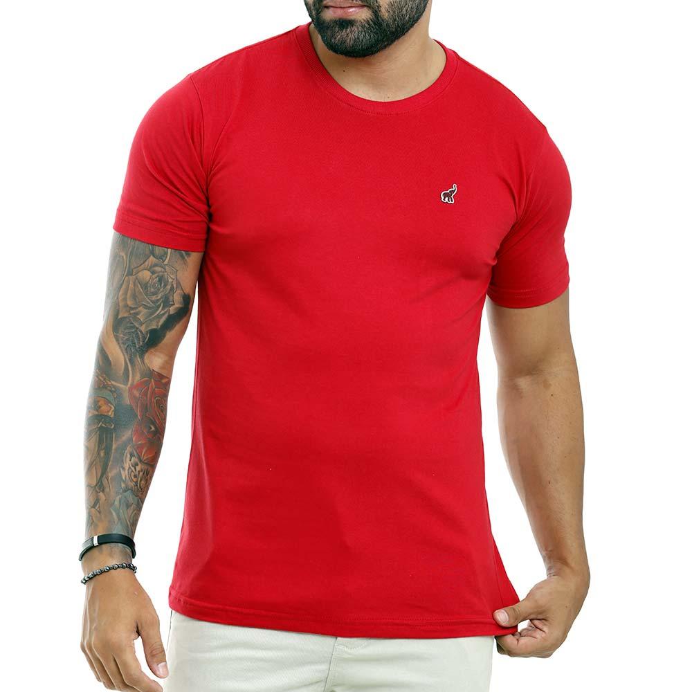 Camiseta Vermelha Masculina Lisa Básica de Algodão