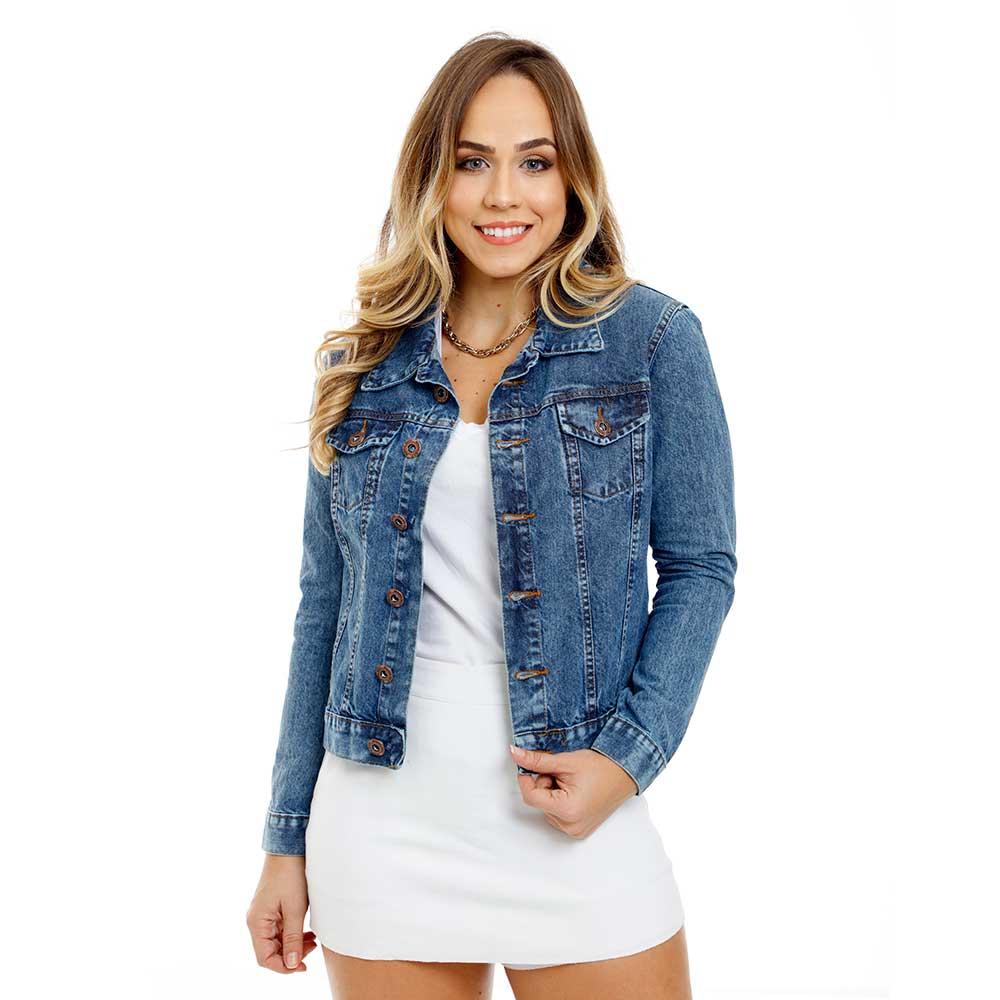 Jaqueta Jeans Feminina Tradicional - Várias Cores