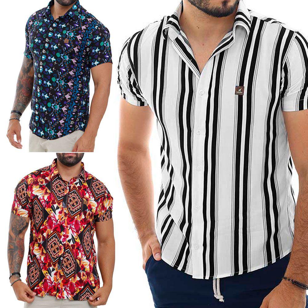 Kit 3 Camisas Estampadas Masculinas Moda Casual Verão 2020