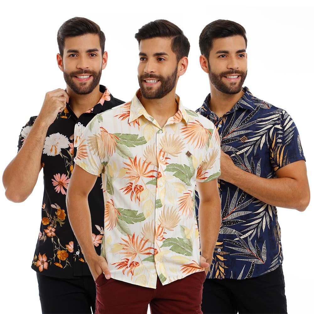 Kit 3 Camisas Masculinas Estampadas Floridas Viscose