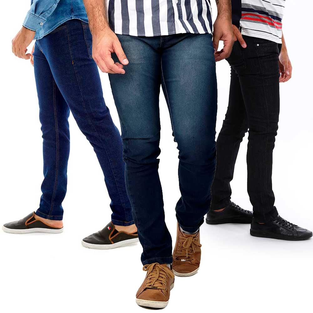 Kit Calça Jeans Masculina Slim Com Lycra Com 3 Unidades